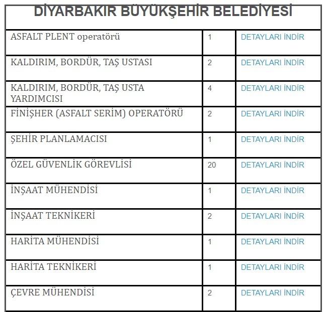 Diyarbakır Büyükşehir Belediyesi İşçi, Personel Alımı 2021
