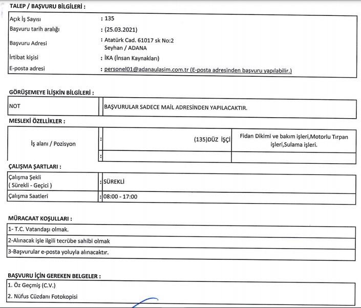 Adana Büyükşehir Belediyesi İşçi, Personel Alımı 2021