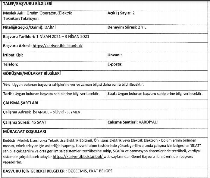 İstanbul Enerji Personel Alımı 2021