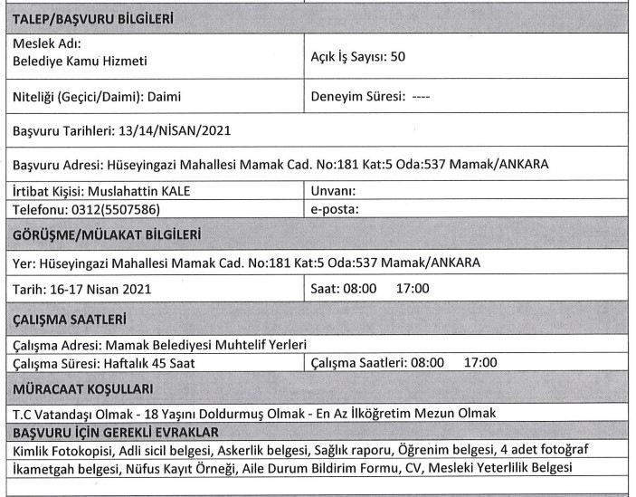 Mamak Belediyesi İşçi, Personel Alımı 2021