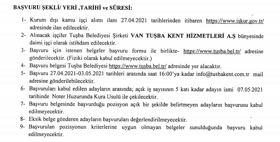 Tuşba Belediyesi Personel Alımı 2021