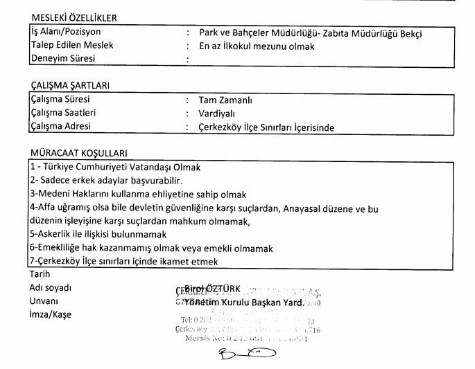 Çerkezköy Belediyesi Personel Alımı 2021