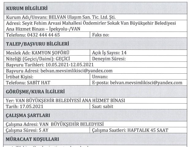 Van Büyükşehir Belediyesi Personel Alımı 2021