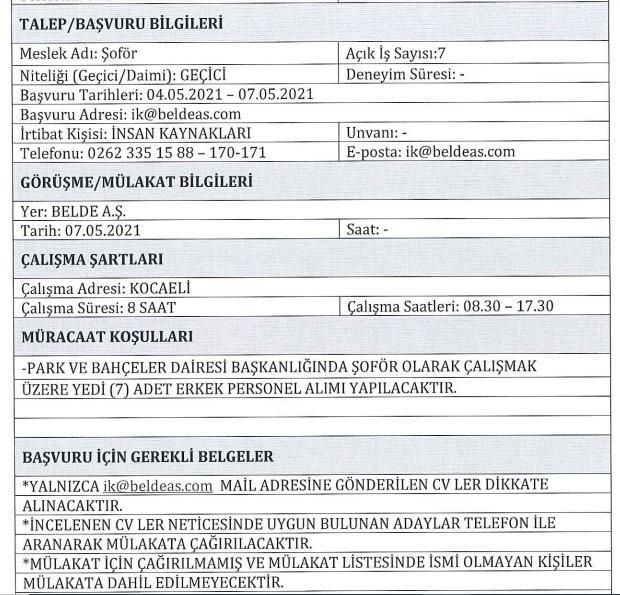 Kocaeli Büyükşehir Belediyesi Personel Alımı 2021